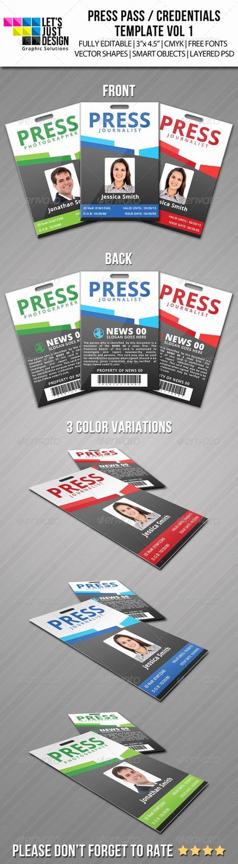 Press Pass Template Free New Press Pass Credentials Template Vol 1 by Jasonmendes On