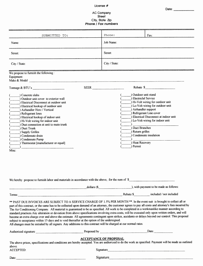 Pressure Washing Proposal Template Unique Printable Blank Bid Proposal forms