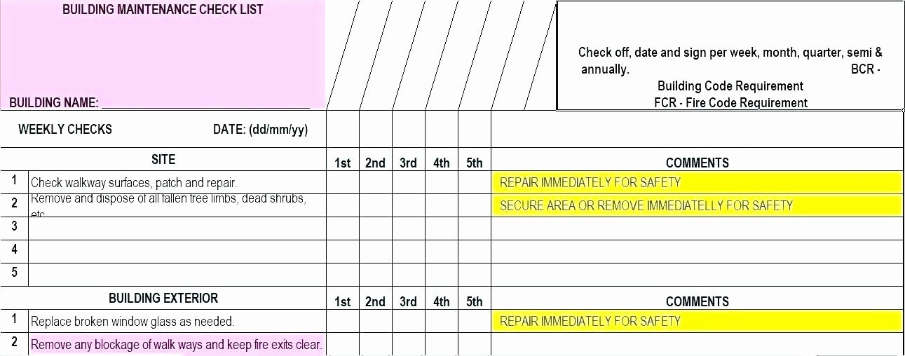 Preventative Maintenance Schedule Template Best Of Vehicle Maintenance Car Checklist Spreadsheet Template