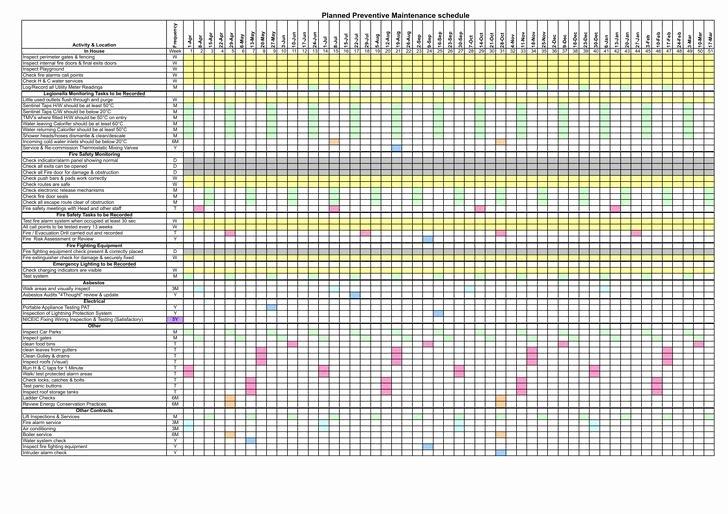 Preventative Maintenance Schedule Template New Preventive Maintenance Schedule Template Excel