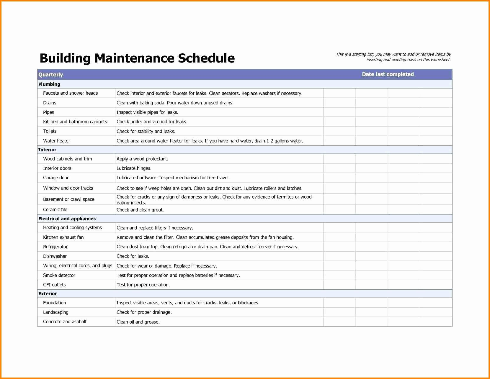 Preventive Maintenance Checklist Template Elegant Building Maintenance Checklists – Emmamcintyrephotography