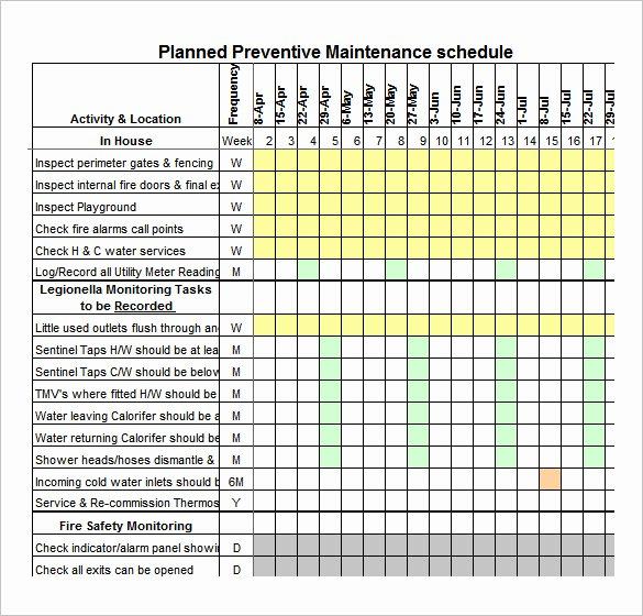 Preventive Maintenance Excel Template Beautiful 37 Preventive Maintenance Schedule Templates Word