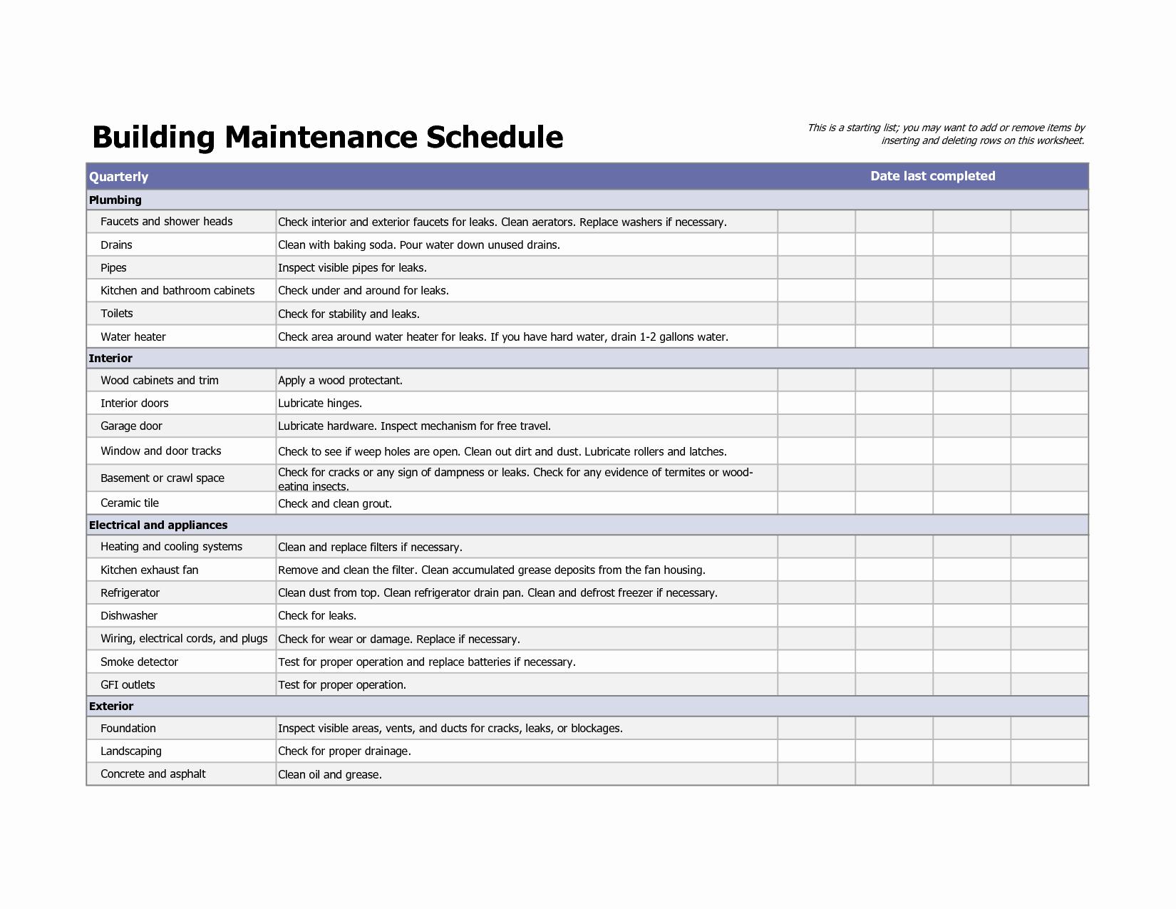 Preventive Maintenance Excel Template Lovely Building Maintenance Schedule Excel Template