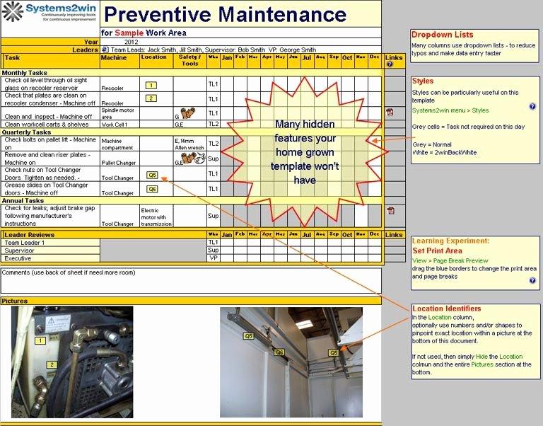 Preventive Maintenance Excel Template Luxury Preventive Maintenance Checklist Excel Template for Tpm