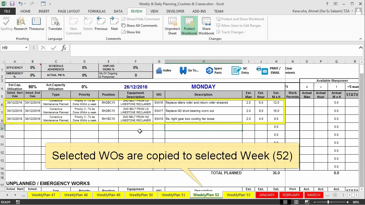 Preventive Maintenance Excel Template New Features Maintenance Planning and Scheduling Excel