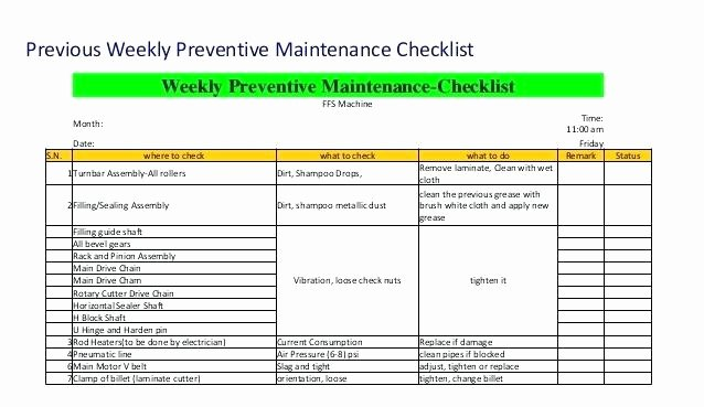Preventive Maintenance form Template Best Of Equipment Maintenance Checklist Example Preventative
