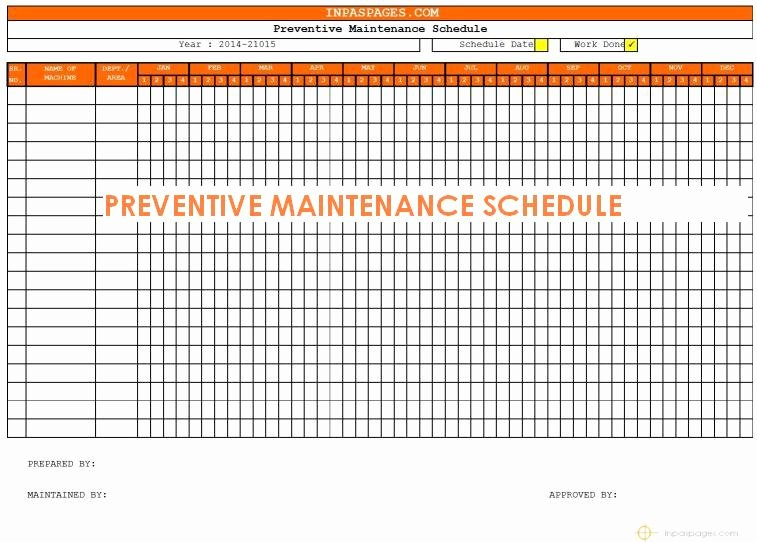 free preventive maintenance schedule template 4002