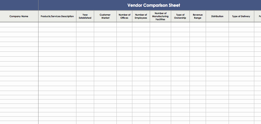 Price Comparison Excel Template Beautiful Vendor Parison Template Excel