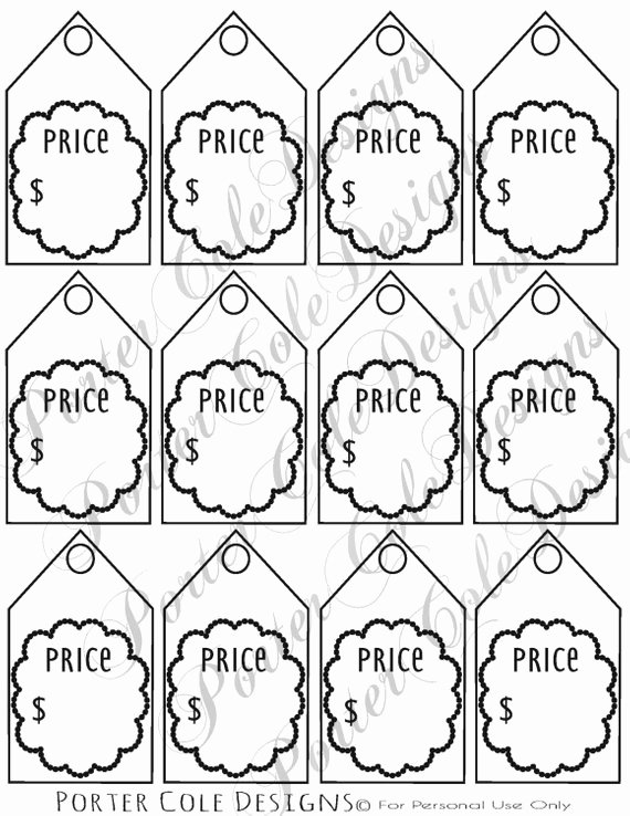 Price Tag Template Printable Fresh Price Tags Printable Digital File