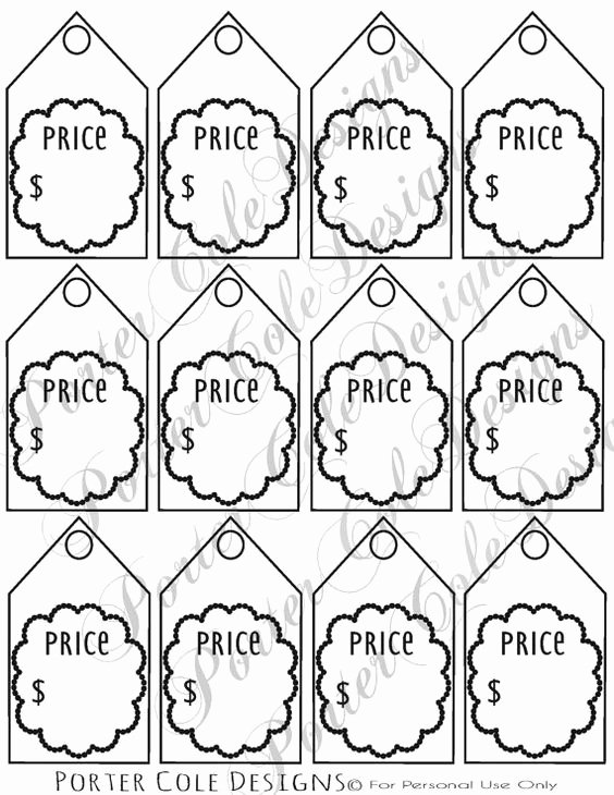 Price Tag Template Printable Luxury Price Tags Printable Digital File by Portercoledesigns On