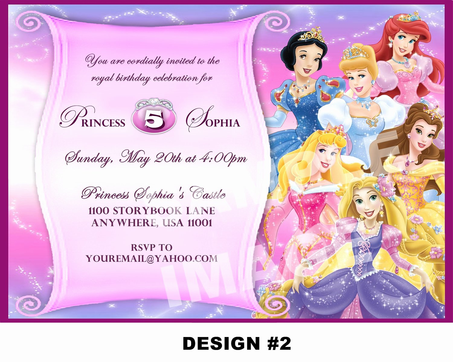 Princess Party Invitation Template Best Of Disney Princesses Birthday Invitations Disney Princess