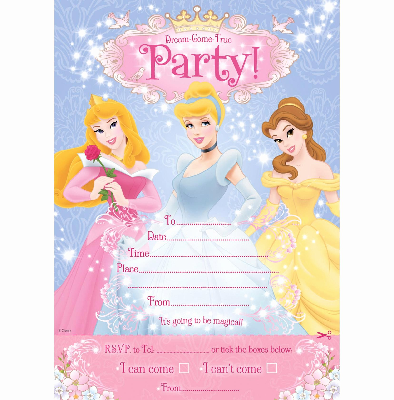 Princess Party Invitation Template Elegant Princess Birthday Invitation Card Template Birthday Tale