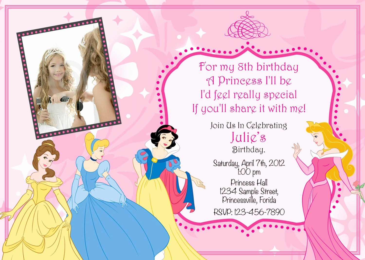 Princess Party Invitation Template Lovely Princess Invitation Template