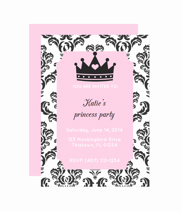 Princess Party Invitation Template Lovely Princess Party Invitation Chicfetti