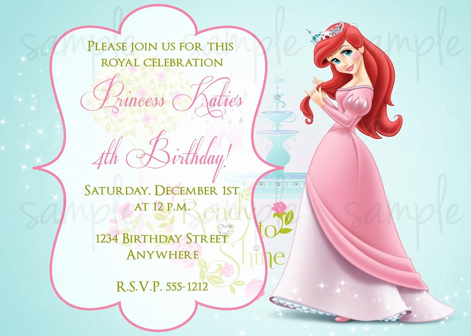 Princess Party Invitation Template Luxury Princess Birthday Party Invitation Wording