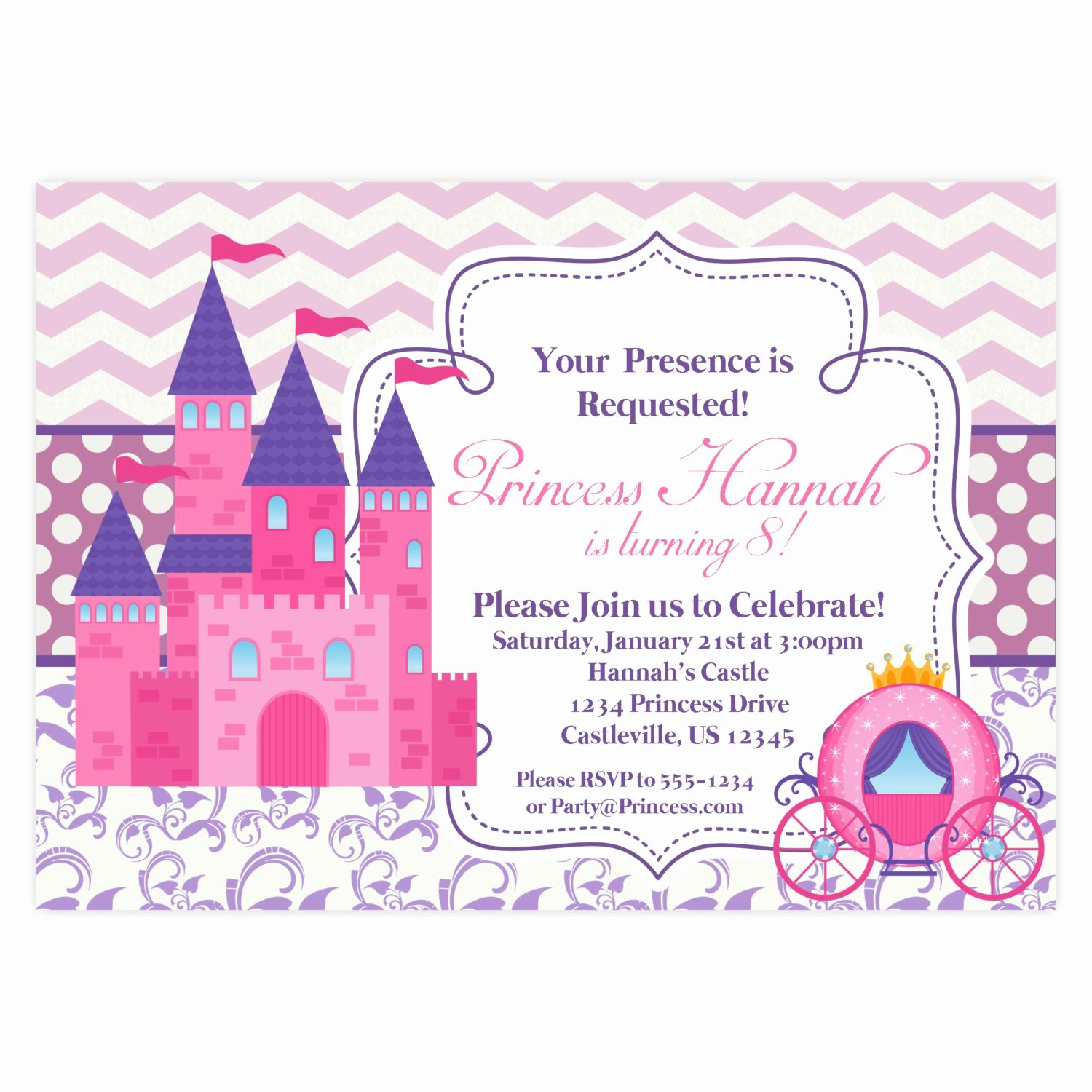 Princess Party Invitation Template Luxury Princess Invitation Retro Pink Chevron Purple Damask Royal