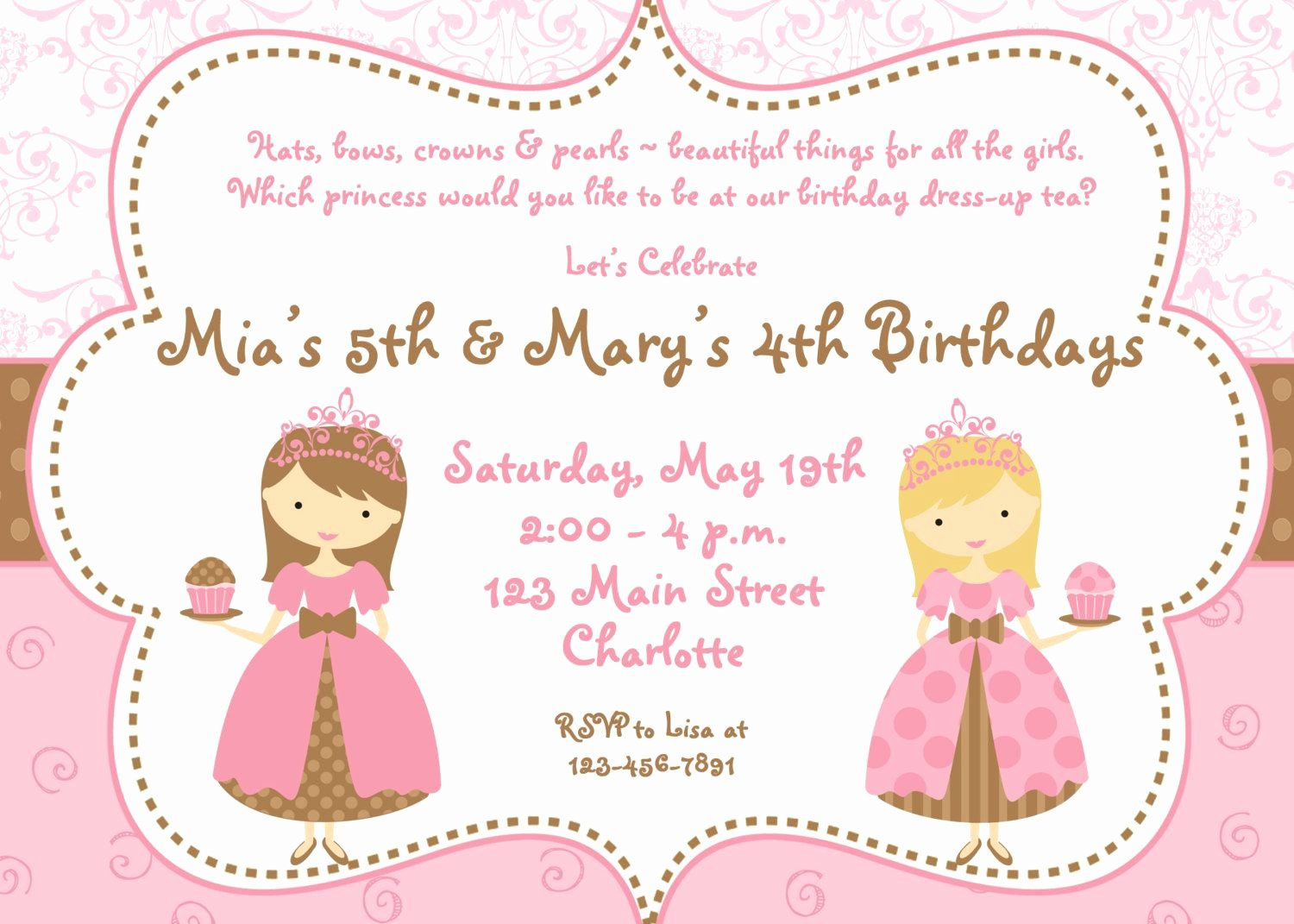 Princess Party Invitation Template Luxury Tea Party Birthday Invitation Cupcake Party Princess