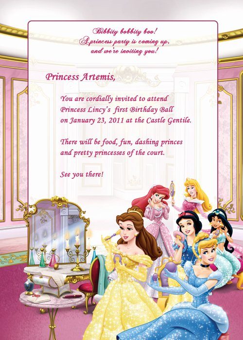 Princess Party Invitation Template New Disney Princesses Birthday Party Invitation – Free