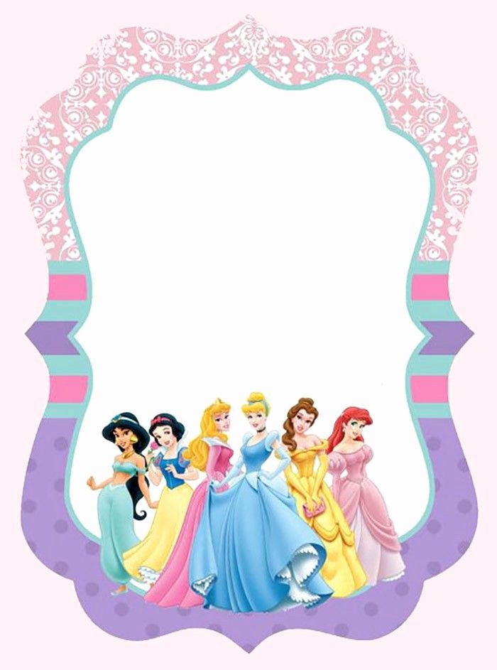 Princess Party Invitation Template New Disney Princesses Invitation Template