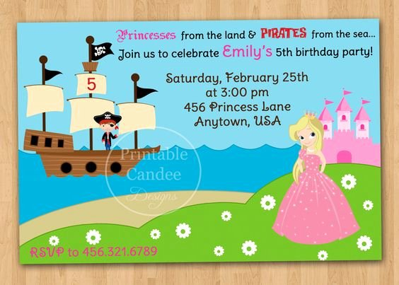Princess Party Invitation Template New Pirate and Princess Party Invitations Template Free