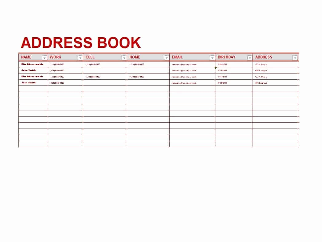 Printable Address Book Template Luxury 40 Printable & Editable Address Book Templates [ Free]