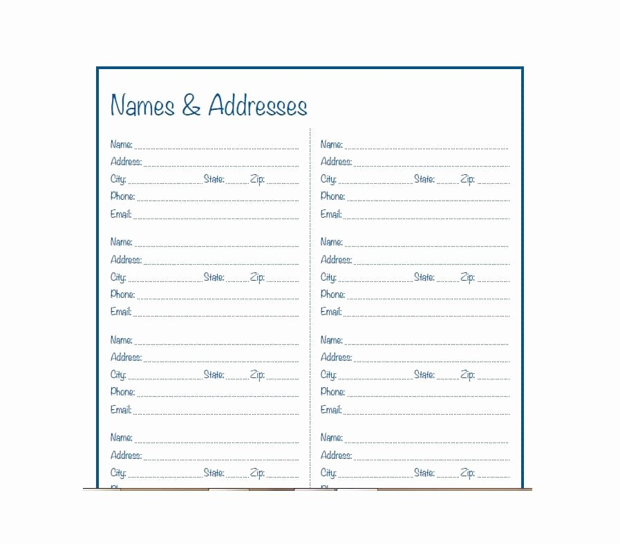 Printable Address Book Template New 40 Printable & Editable Address Book Templates [ Free]