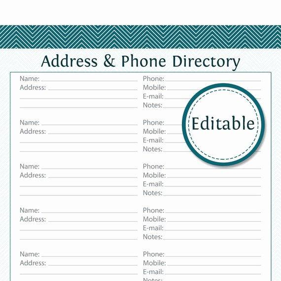 Printable Address Book Template Unique Address & Phone Directory Editable Printable Pdf by