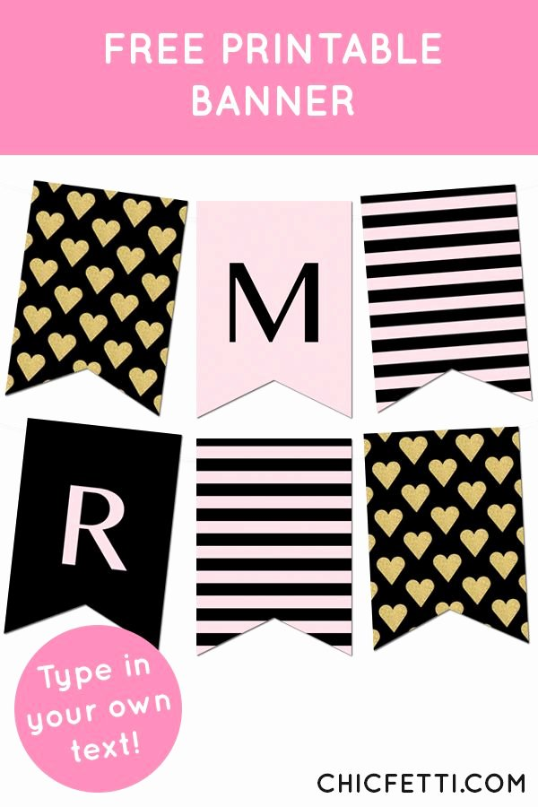 Printable Birthday Banner Template Unique Striped Gold Heart Banner Bbq Ideas