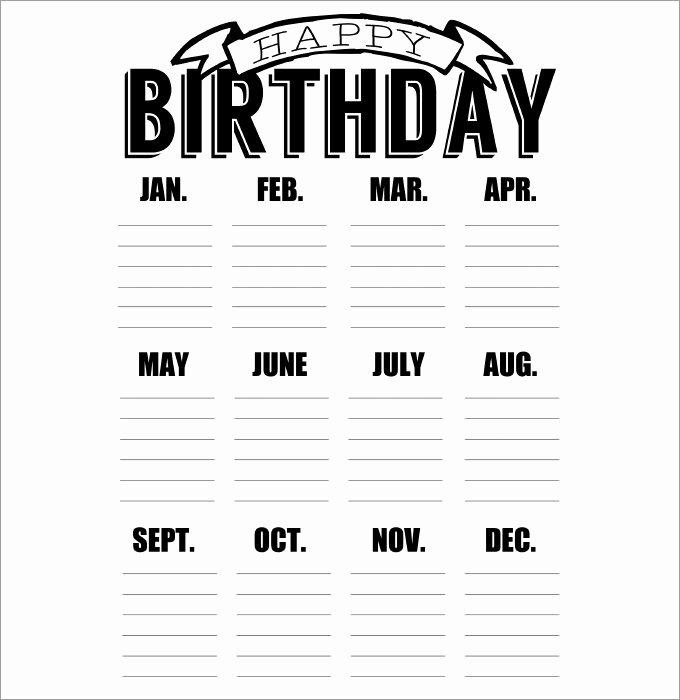 Printable Birthday Calendar Template Awesome 43 Birthday Calendar Templates Psd Pdf Excel