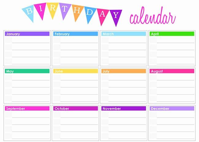 Printable Birthday Calendar Template Beautiful Best S Of Employee Birthday List Template Birthday