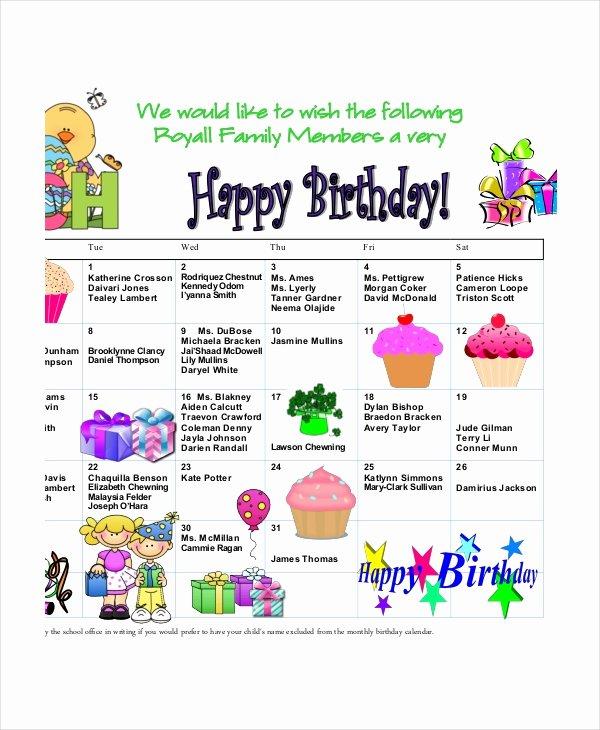 Printable Birthday Calendar Template Beautiful Birthday Calendar 11 Free Word Pdf Psd Documents