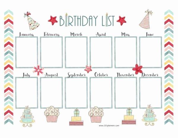 Printable Birthday Calendar Template Elegant Free Birthday Calendar