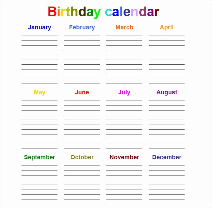 Printable Birthday Calendar Template Inspirational Perpetual Calendar Calendar Template