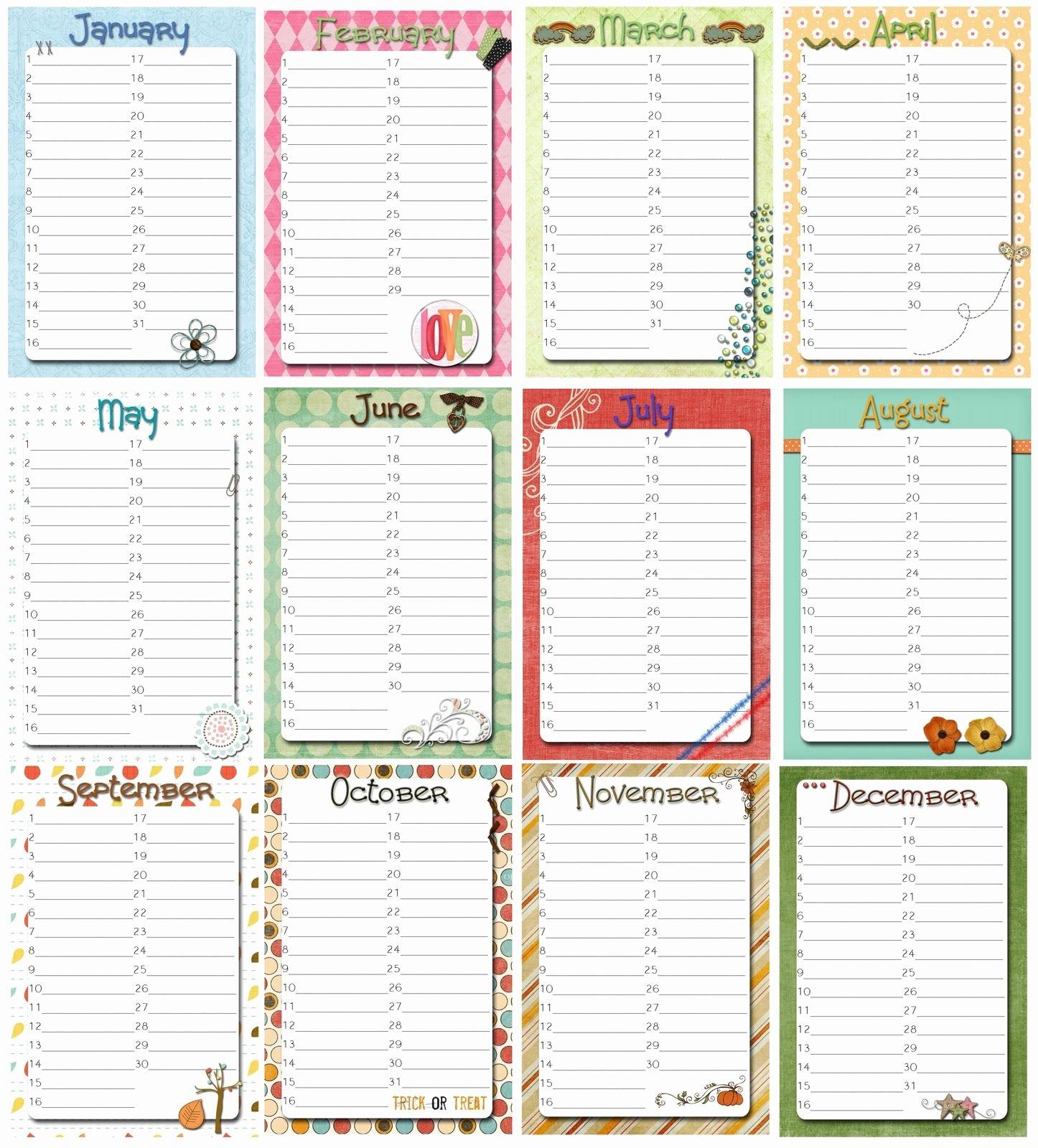 Printable Birthday Calendar Template Lovely Family Birthday Calendar Printable Free