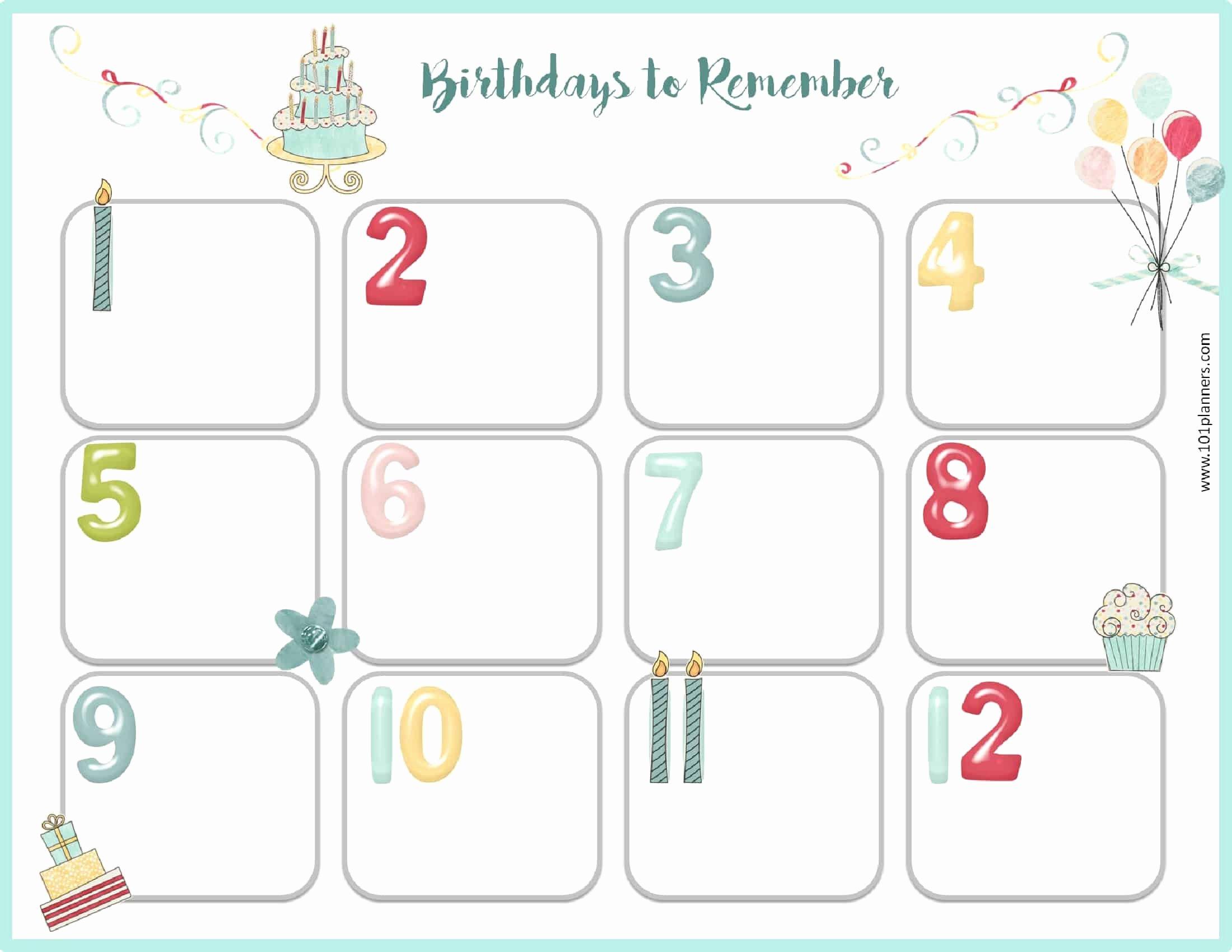 Printable Birthday Calendar Template Lovely Free Birthday Calendar