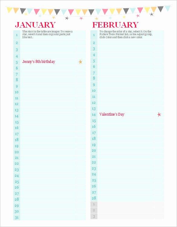 Printable Birthday Calendar Template Luxury 40 Microsoft Calendar Templates Free Word Excel