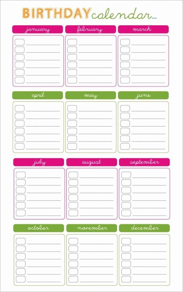 Printable Birthday Calendar Template Luxury 43 Birthday Calendar Templates Psd Pdf Excel