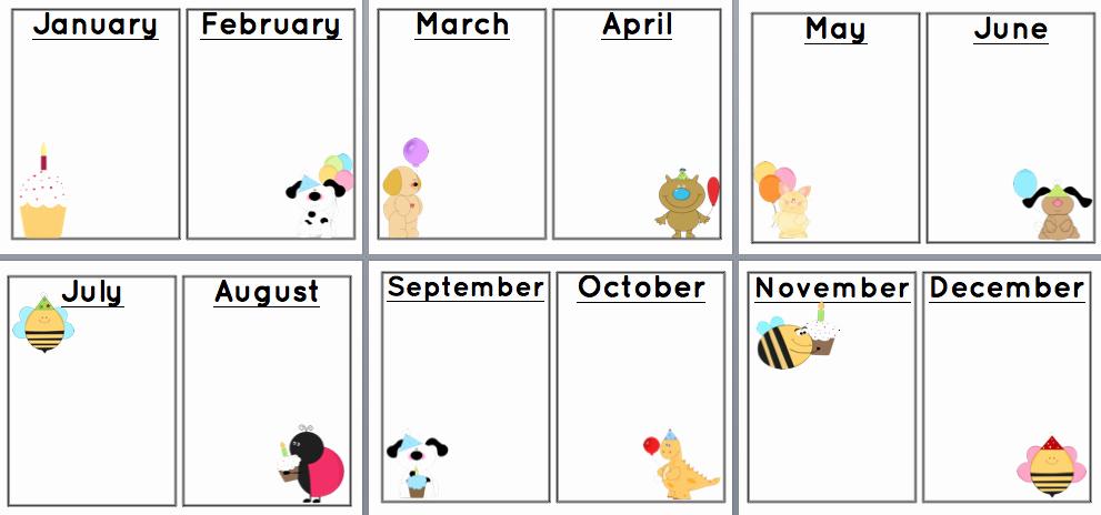 Printable Birthday Calendar Template New Sunshine and Teaching Free Printable Birthday Chart