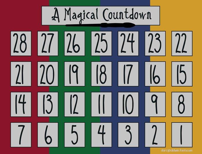 Printable Countdown Calendar Template Awesome Magical Printable Darcy Baldwin Fonts