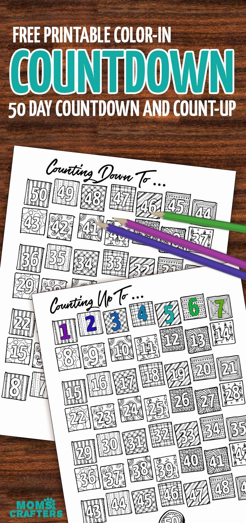 Printable Countdown Calendar Template Awesome Printable Countdown Calendar and Progress Tracker – Color