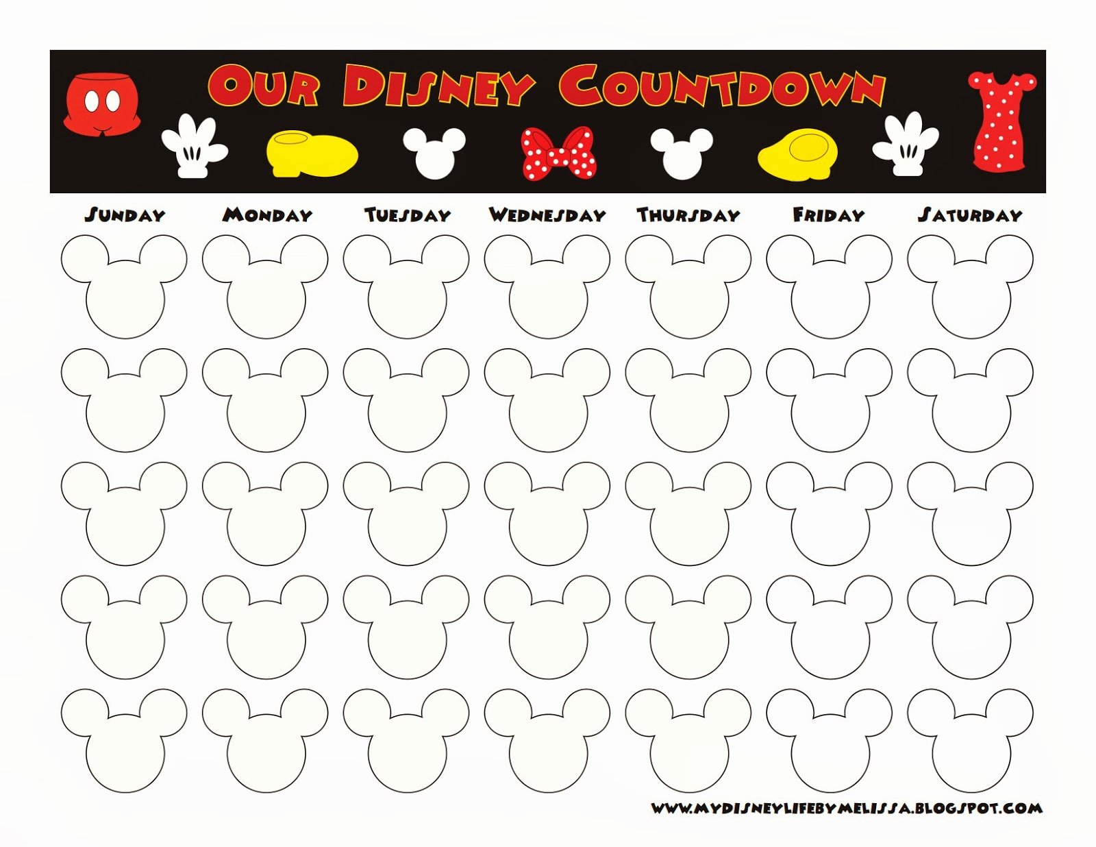 Printable Countdown Calendar Template Beautiful My Disney Life Countdown Calendars