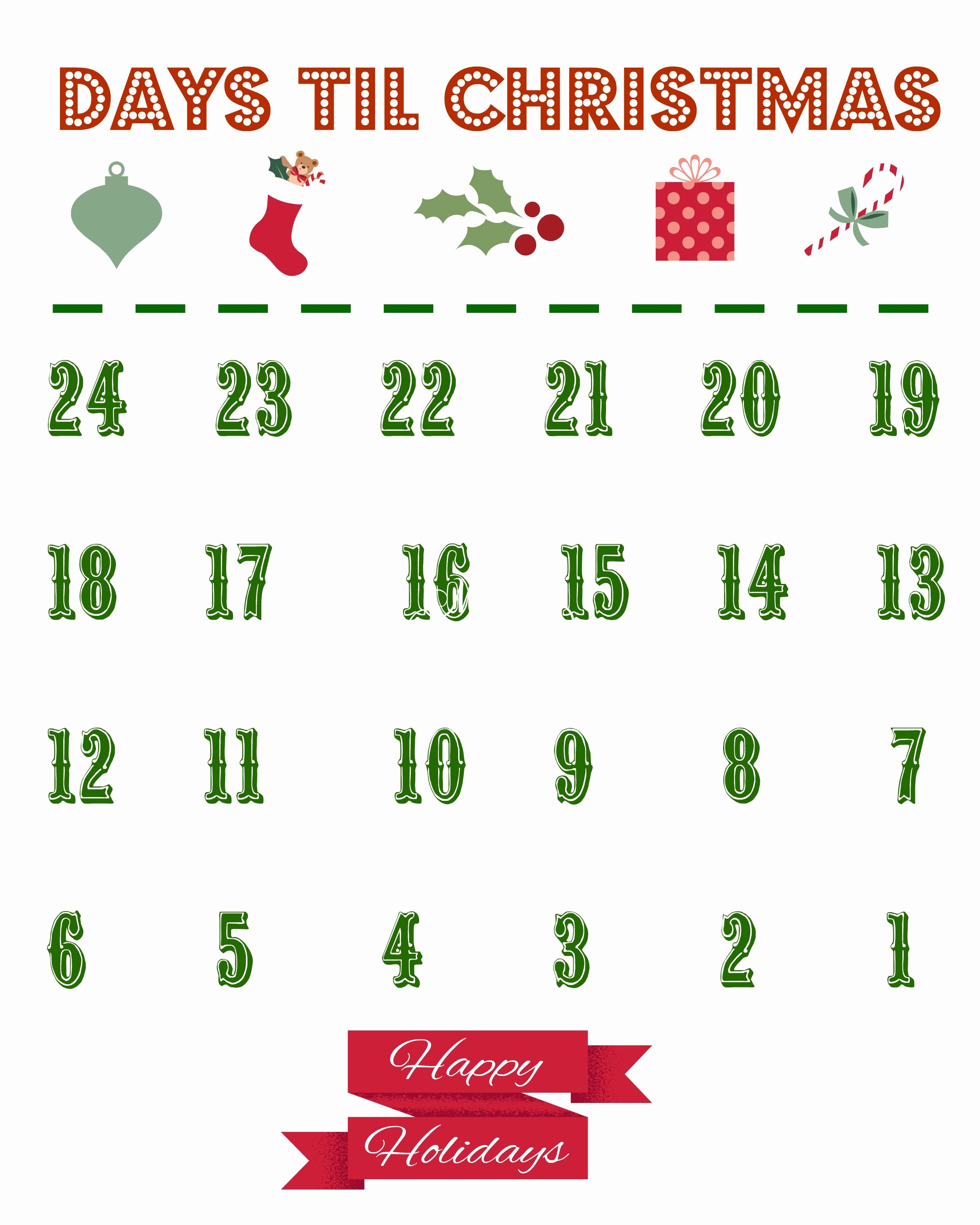Printable Countdown Calendar Template Beautiful Printable Christmas Countdown Calendar the Country Chic