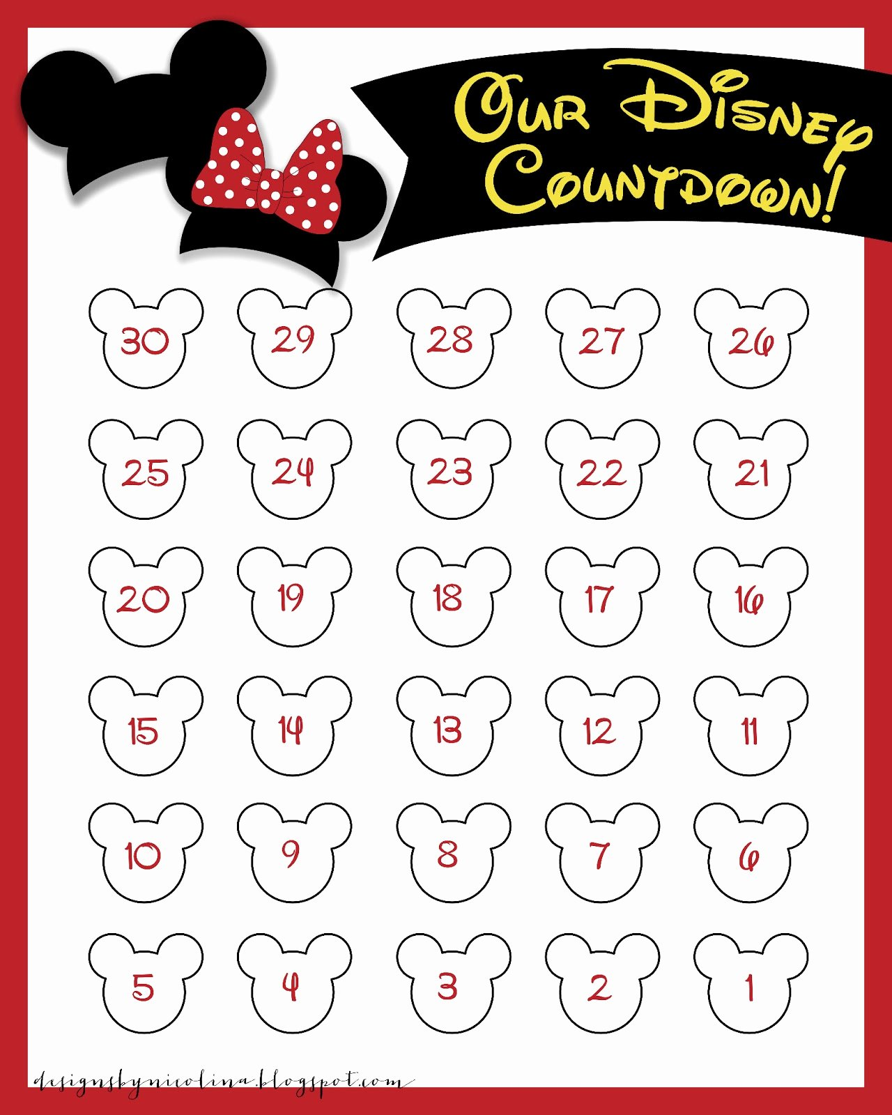 Printable Countdown Calendar Template Elegant Designs by Nicolina Disney Countdown Free Printable