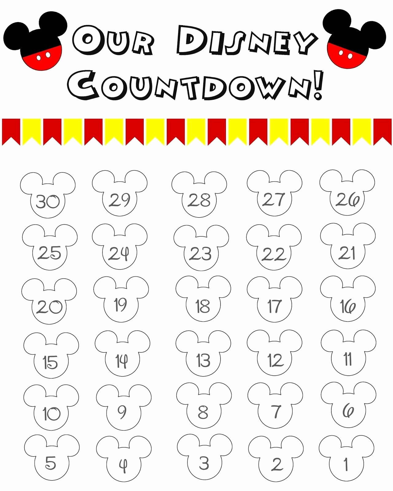 Printable Countdown Calendar Template Elegant Disney World Countdown Calendar Free Printable