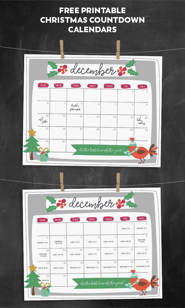 Printable Countdown Calendar Template Luxury Free Printable Christmas Countdown Calendar for December