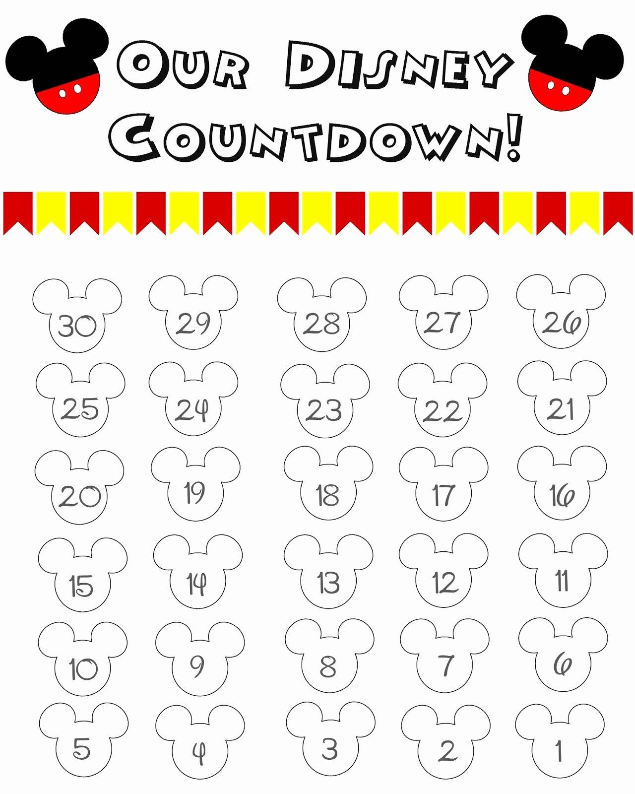 Printable Countdown Calendar Template New 10 Fun Printable Disney Countdown Calendars