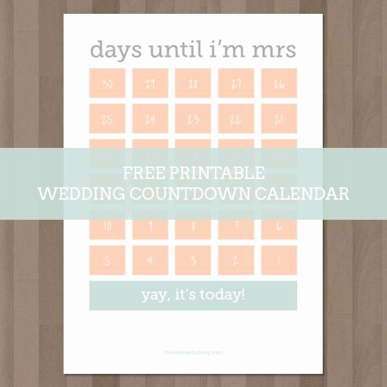 Printable Countdown Calendar Template Unique Wedding Countdown Countdown Calendar and Calendar On