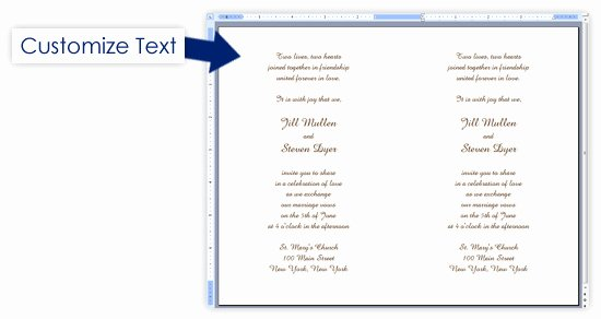 Printable event Program Template Beautiful 2up & 4up Perforated Invitations