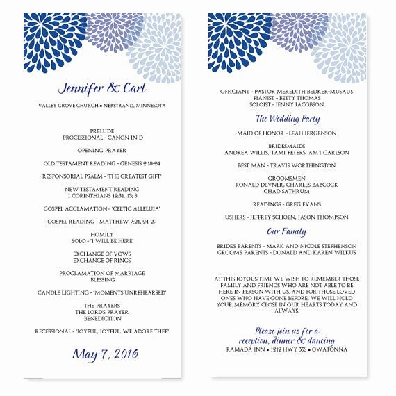 Printable event Program Template Beautiful Wedding Program Template Chrysanthemum Blue Tea Length