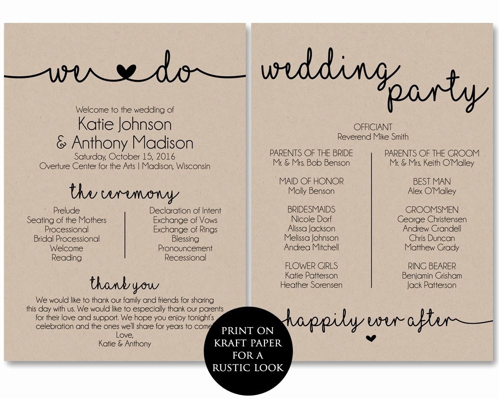 Printable event Program Template Best Of Ceremony Program Template Printable Wedding Programs